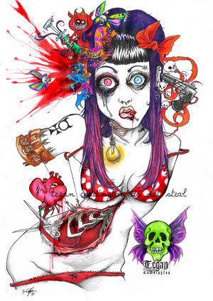 Cartoon Zombie Pin Up Girl Cupcake Zom Zombies Pinterest On