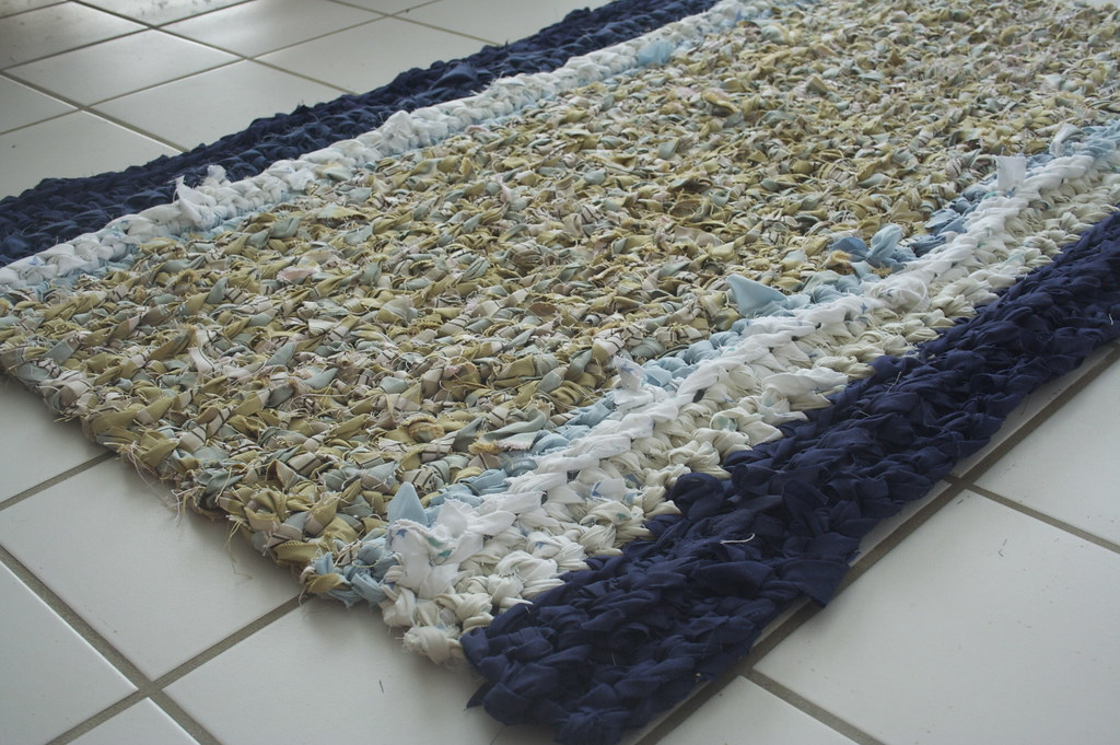 Living Room Rag Rug Made From Scrap Decorator Fabric And