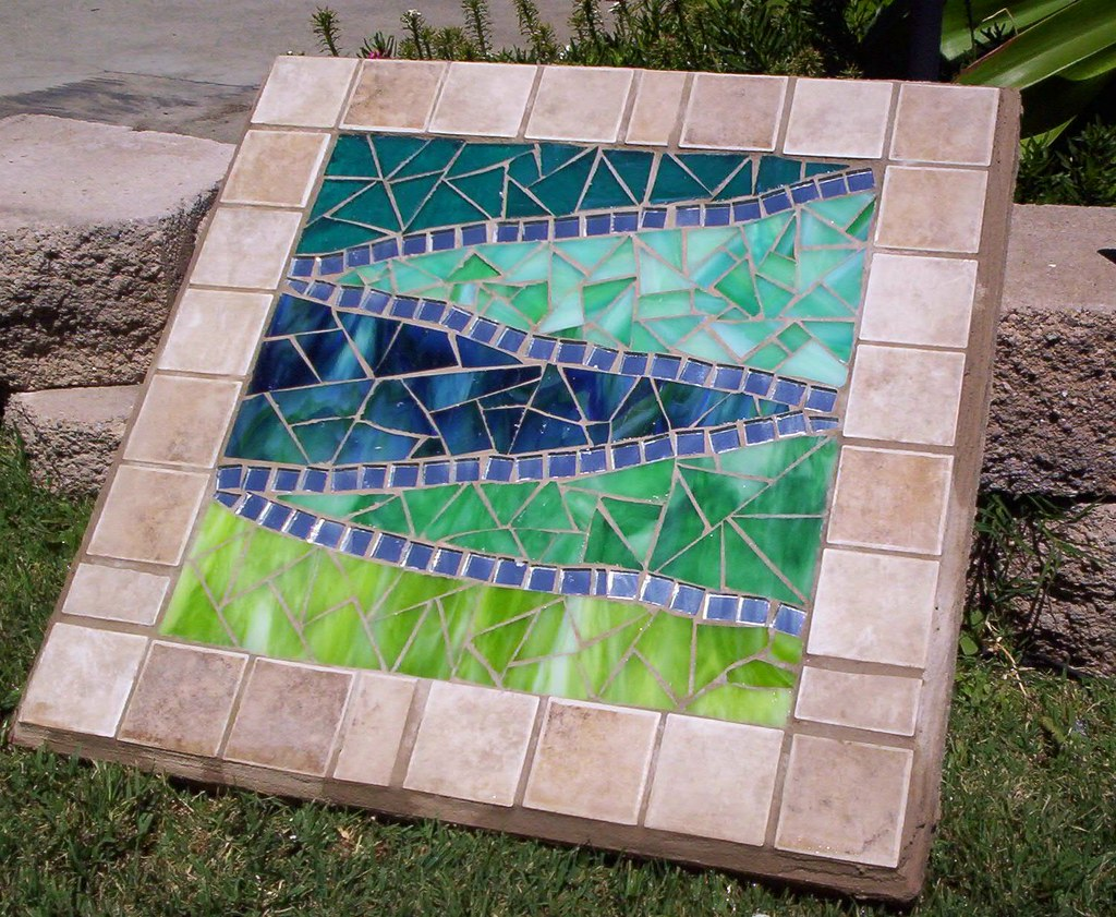 mosaic garden paver this is a bad picture the small tiles flickr. Black Bedroom Furniture Sets. Home Design Ideas