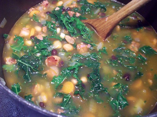 Portuguese Linguiça and Kale soup simmering | by mia3mom