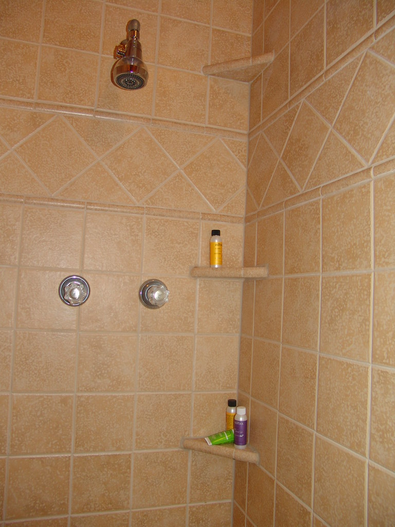 ... Ceramic Tile Shower With Shelves | By Kmswoodworks