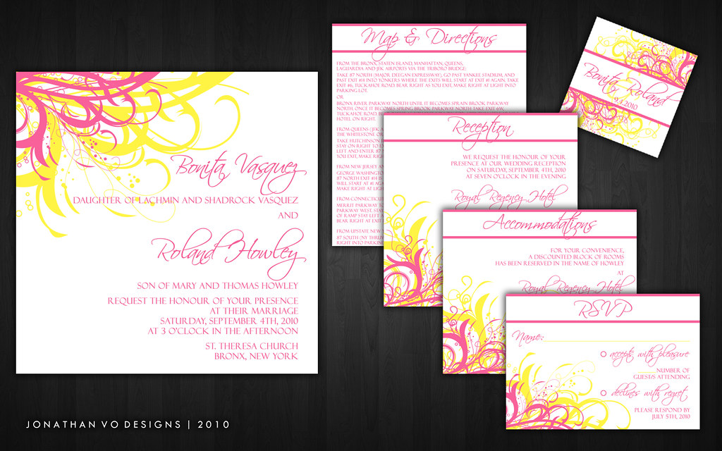 Pink and Yellow Wedding Invitations | Please contact me for … | Flickr