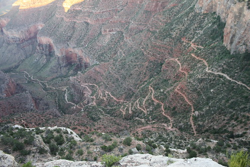 Bright Angel Trail From The Early Switchbacks Past Both