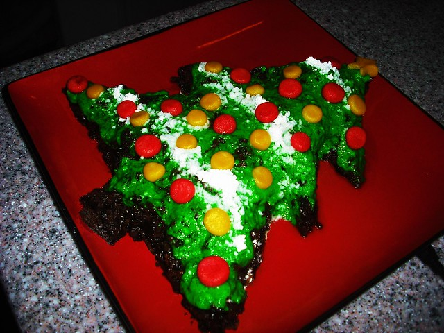 vegan christmas tree brownie with almond paste ornaments | Flickr ...