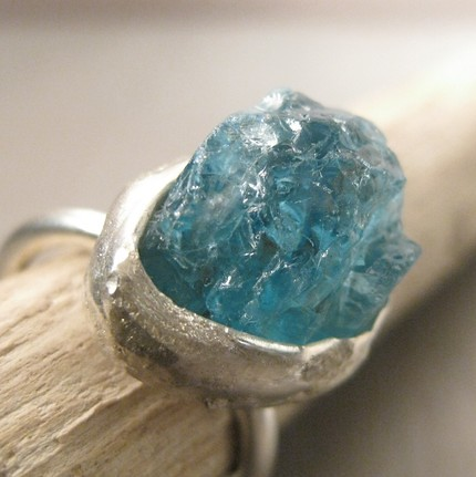 Aqua Ring Raw Apatite Stone And Sterling Silver Aqua