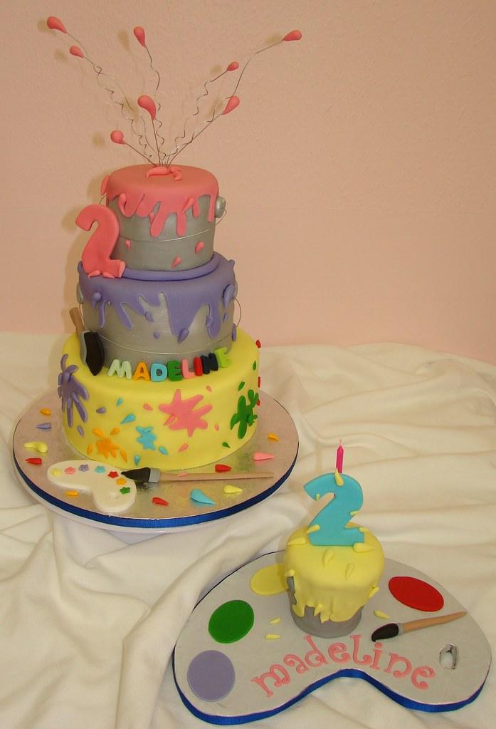 Painting theme birthday cake and smash paint can cupcake for Cake craft beavercreek ohio