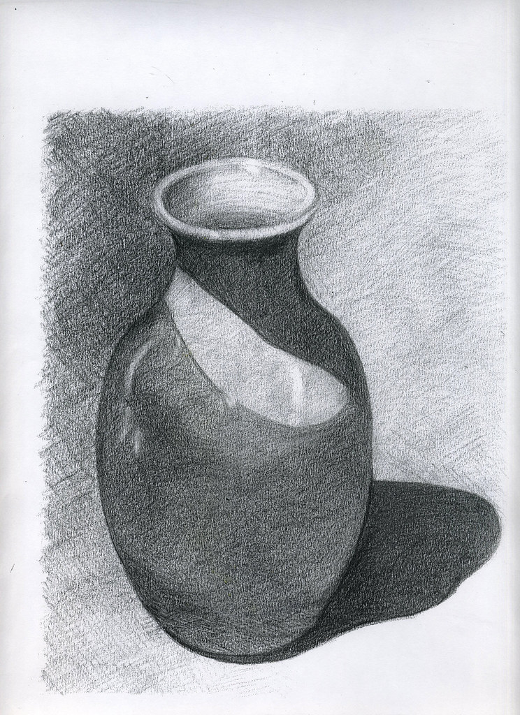 Fruits still life drawings in pencil