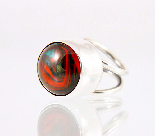 Red Green Silver Ring | by eviHAN Lampwork and Silver Jewelry