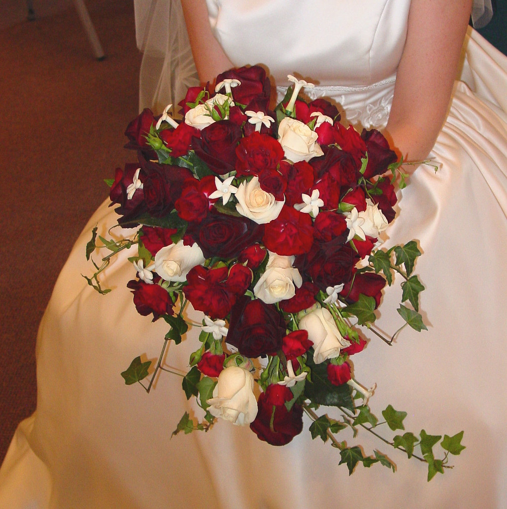 Deep Red And Ivory Rose Cacade Bridal Bouquet