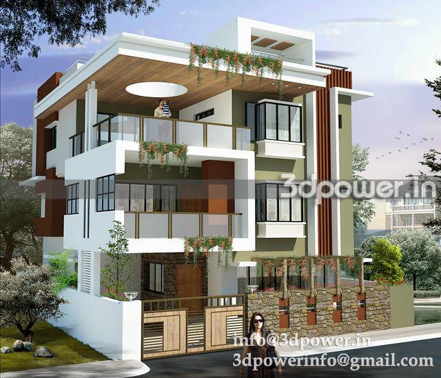 3d image contempary bungalow bungalow 3d modeling 3d rende for Best indian bungalow design