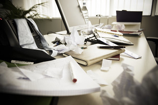 a messy desk | by EU Social