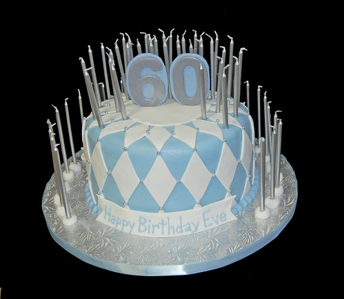 White Blue And Silver 60th Birthday Cake With 60 Candles