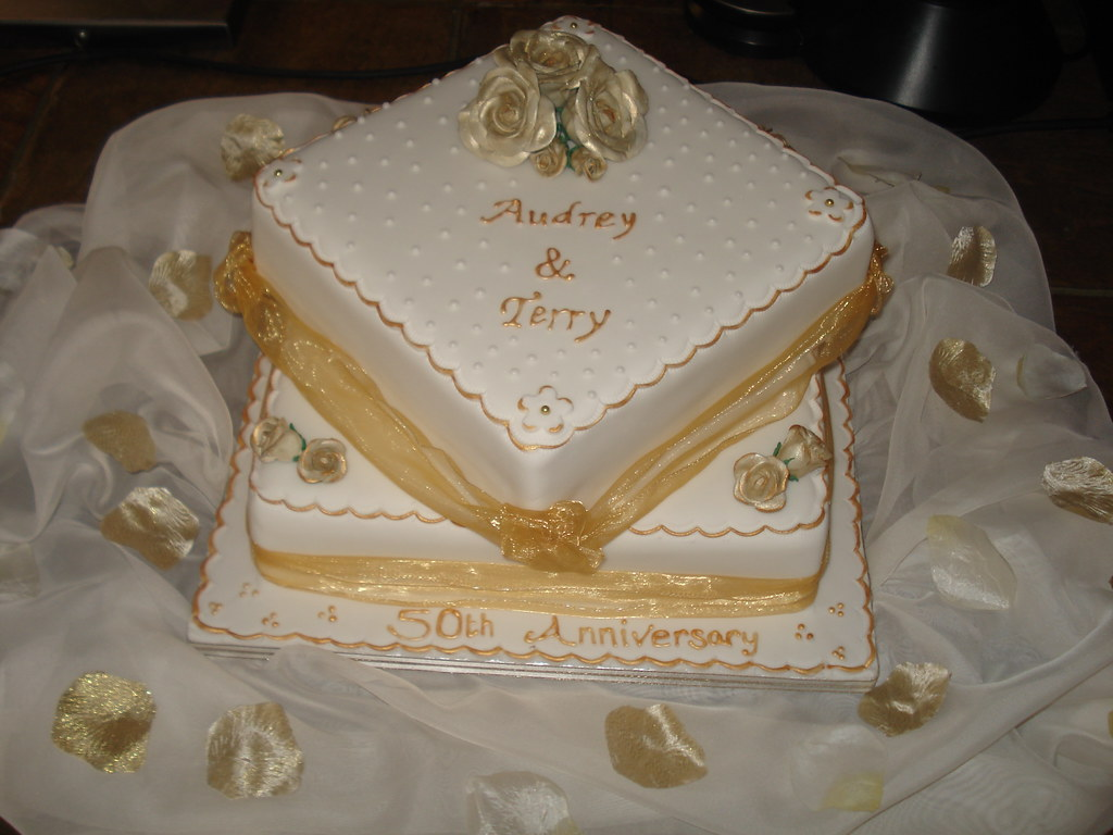 golden wedding cake messages two tier golden wedding anniversary cake lou flickr 14762