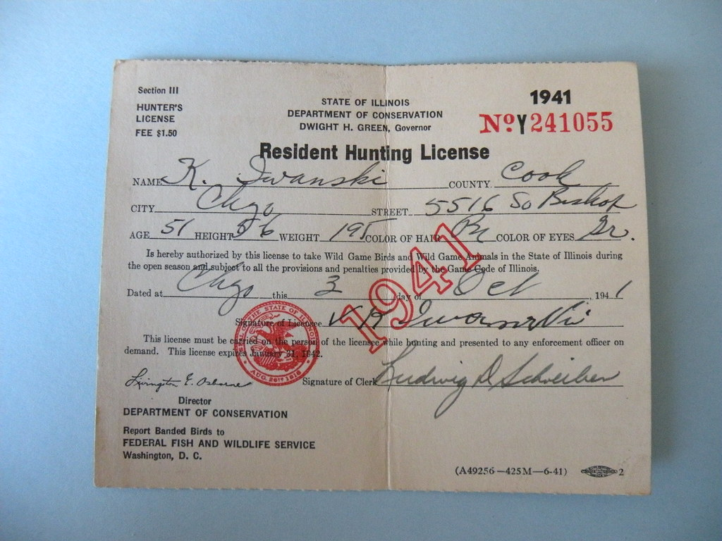 Kostanty gust iwanski 39 s 1941 illinois hunting license for Fishing license il