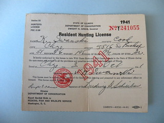 Kostanty gust iwanski 39 s 1941 illinois hunting license for Fishing license illinois