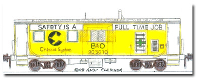 Chessie System B Amp O Bay Window Caboose Drawing Chessie