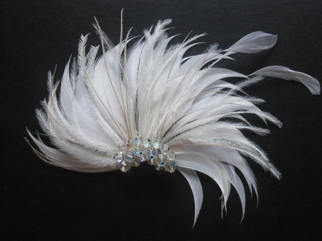 Vintage inspired white feather flower fascinator fan hair flickr vintage inspired white feather flower fascinator fan hair clip by radokri by radokri mightylinksfo