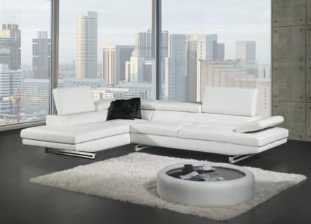 sofa esquinero derecho en cuero blanco ref 127 20