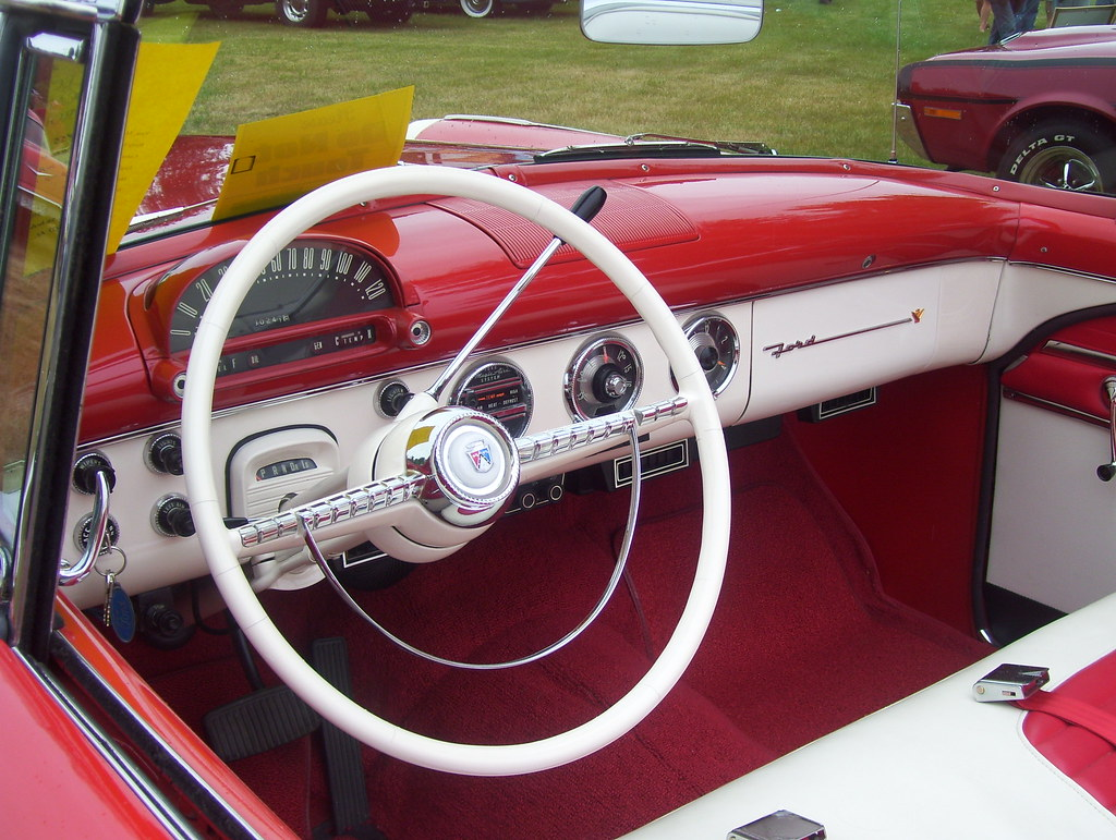 Steering wheel of the 1955 ford fairlane sunliner by danielleatwater