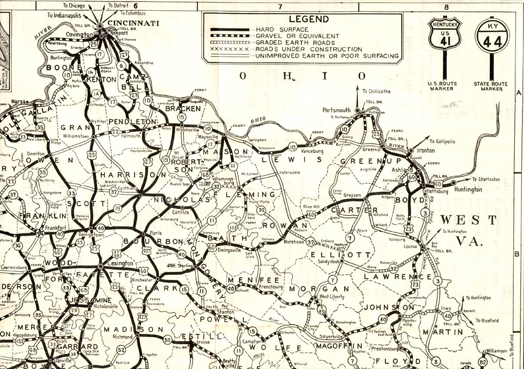 Road Map Of Kentucky Northeast Section Of State Map P Flickr - Us road map 1930