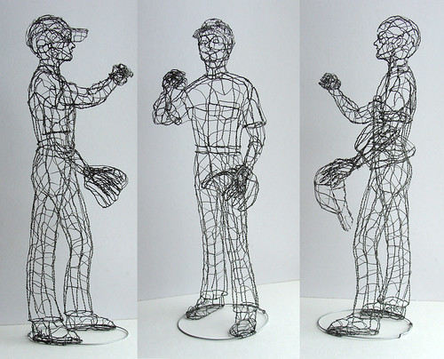Baseball player wire sculpture galvanized steel 20 for How to make a wire sculpture