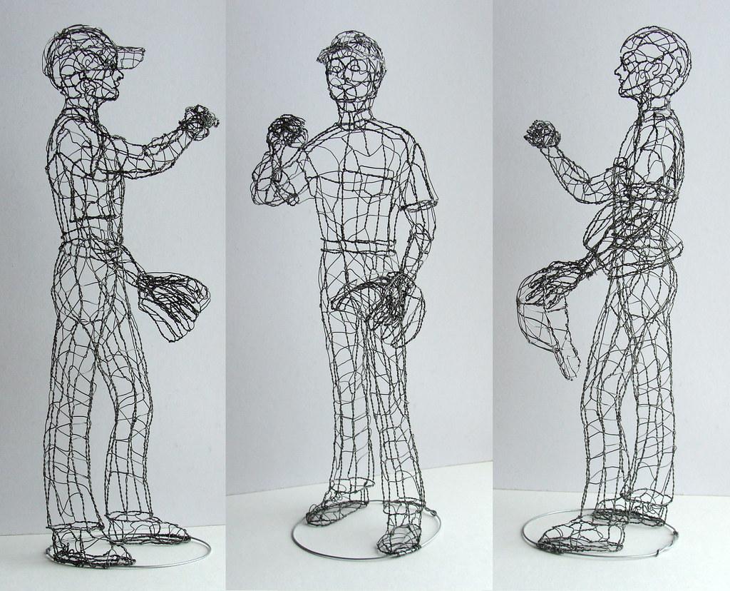 Baseball Player Wire Sculpture | Galvanized steel, 20 inches… | Flickr