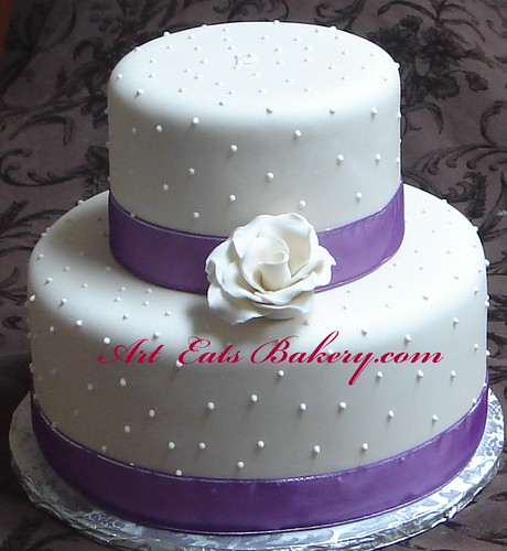 Two Tier Ivory Fondant Wedding Cake With Sugar Rose Royal