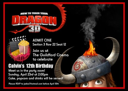 How To Train Your Dragon Custom Birthday Invitation Flickr