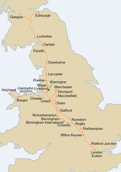Map of the UKs West Coast Mainline WCML  This is a useful   Flickr