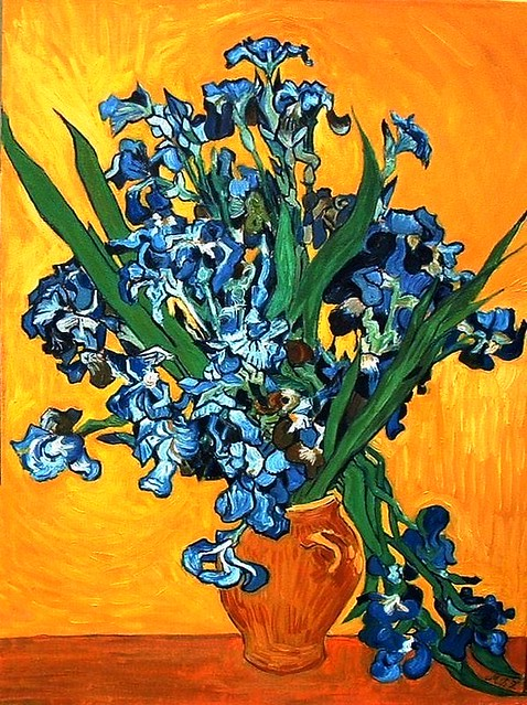 After Van Gogh Iris Vase My Oil Painting Re Posted Flickr