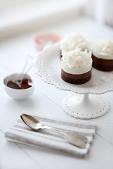 chocolate, hazelnut and coconut mousse cakes | by cannelle-vanille
