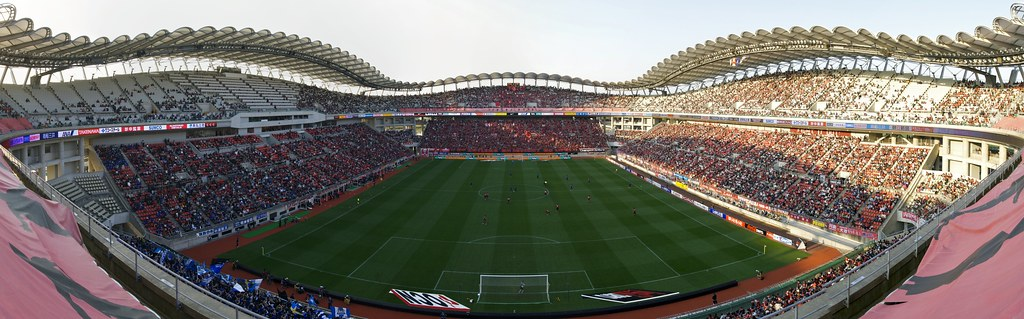 upper deck of kashima soccer stadium panorama カシマスタジアムの
