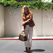 70's+Rust Blazer+Louis Vuitton Bag+Blond waves+khakis -lc