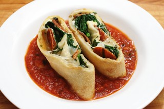 stone fired stromboli with pepperoni, fresh spinach and basil | by aarn!