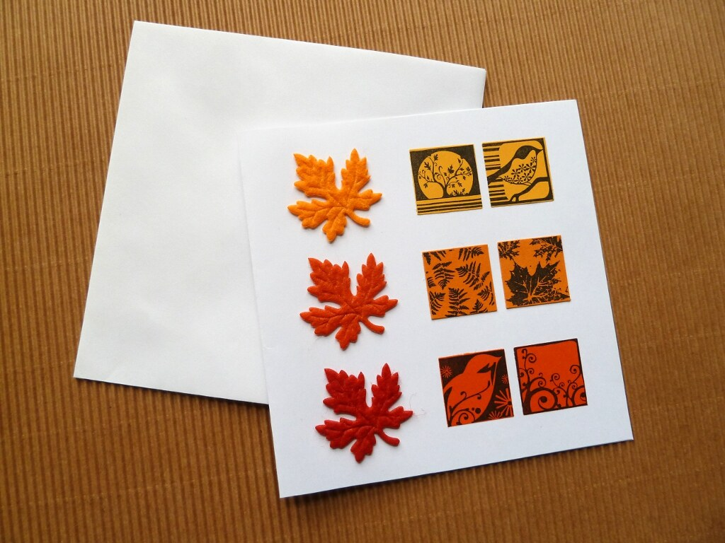 Yellow Orange Red Card With Felt Leaves And Inchies Flickr