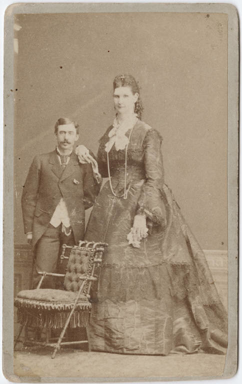 Photograph Of Circus Performers A Giant Woman And A Man