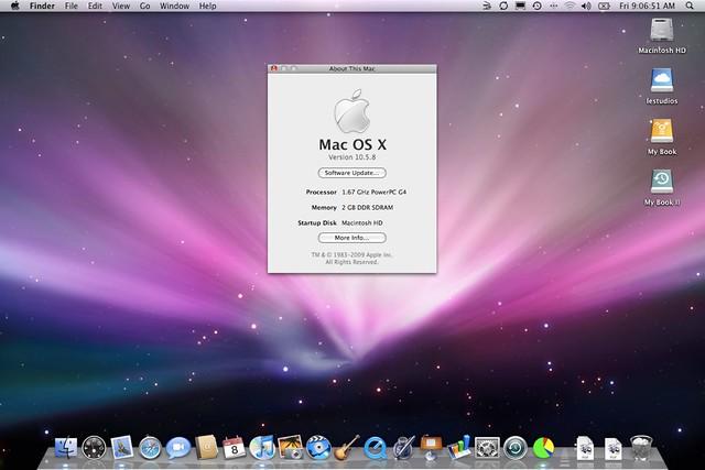 Mac os x 10 5 8 on 15 powerbook g4 a1106 plus ili for Cuisine 3d mac os x