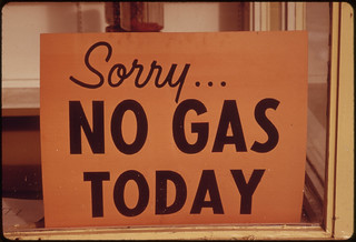 """No Gas"" Signs Were a Common Sight in Oregon During the Fall of 1973, Such as at This Station in Lincoln City Along the Coast. Many Stations Closed Earlier, Opened Later and Shut Down on the Weekends 10/1973 