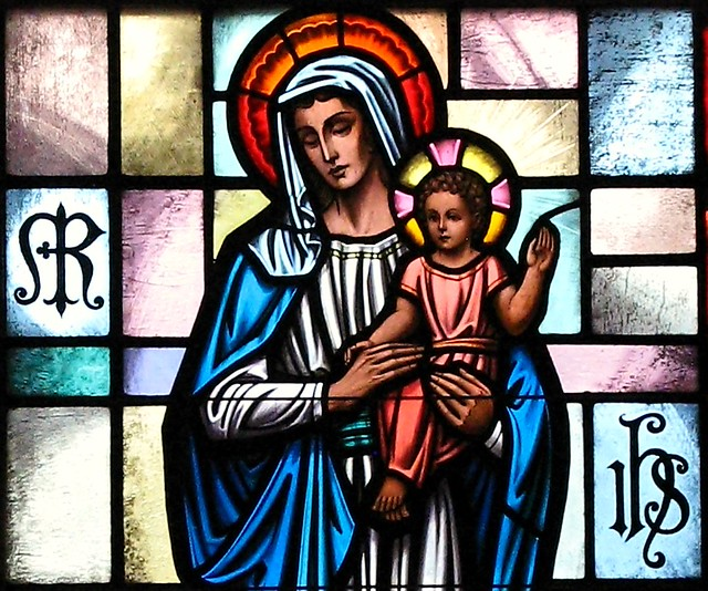 Image result for mary and jesus stained glass