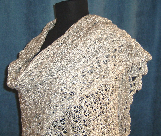 Dove Hand Lace Loom Knit Shawl A sweeping