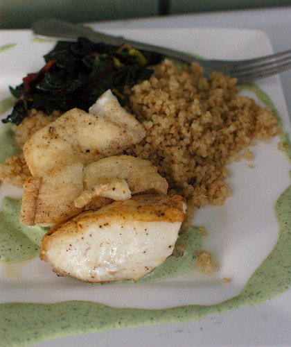 first halibut of the season, with sorrel sauce | by shauna | glutenfreegirl
