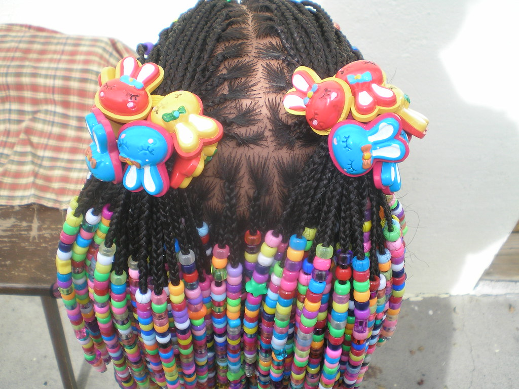 Hair Styles Braids With Beads: Braids And Beads Hairstyle For Girls, Top Back.