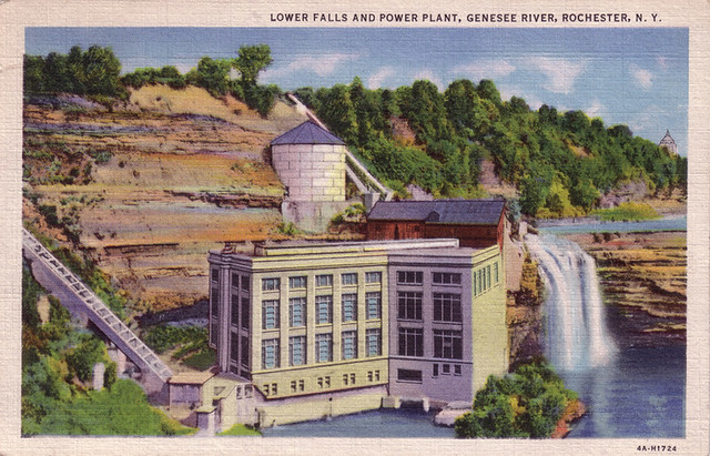 Lower Falls And Power Plant Genesee River Rochester N Y