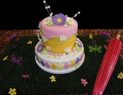 Birthday Cakes Phoenix ~ Pink purple and yellow daisy birthday cake customer displau flickr