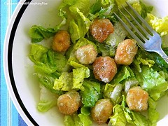 Crunchy Pizza Dough Croutons with Caesar Salad | by CinnamonKitchn