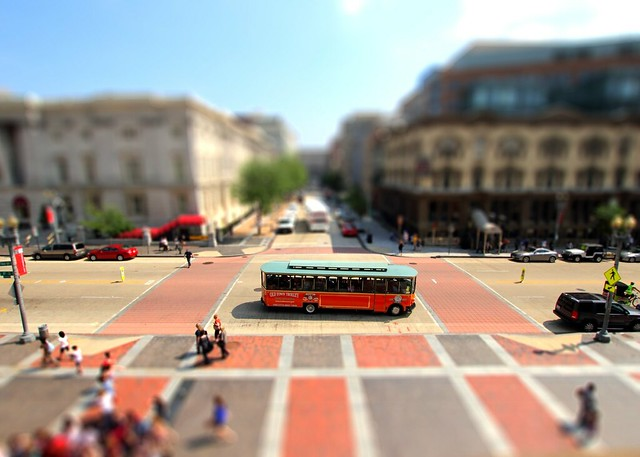 bus, street, tilt, shift