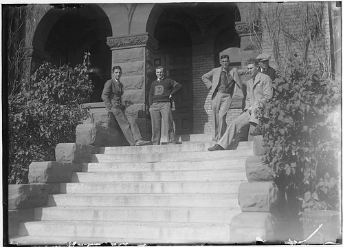Male students on steps of Old Main, North Dakota Agricultural College | by NDSU University Archives