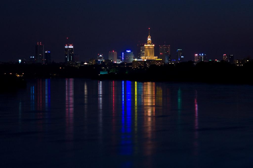 Warsaw By Night Panorama Of Warsaw Taken From