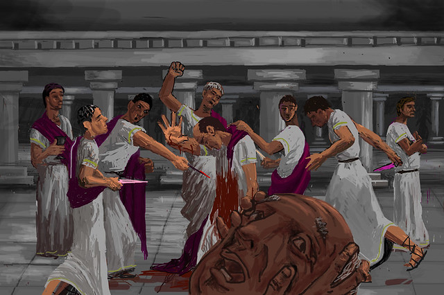 The historic and fictional version of julius caesars assassination