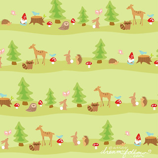 woodland fabric pattern | by merwing✿little dear